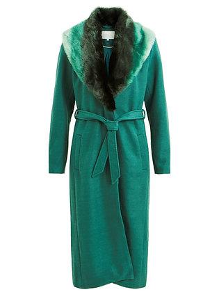 Emerald fur trim wool coat