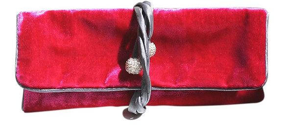 Velvet jewellery roll in fuschia