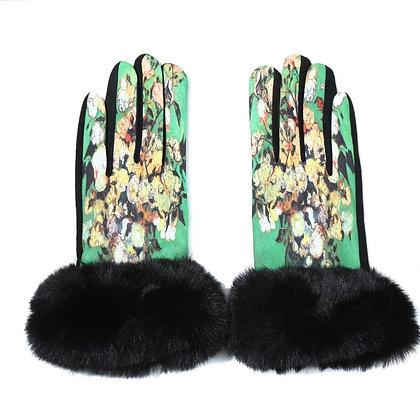 Faux fur trim gloves in green print