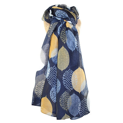 Leaves scarf navy/yellow