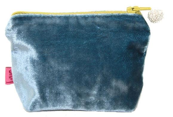 Velvet mini purse in teal