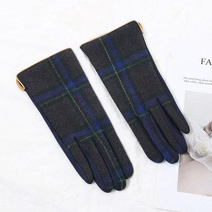 Tartan gloves in navy