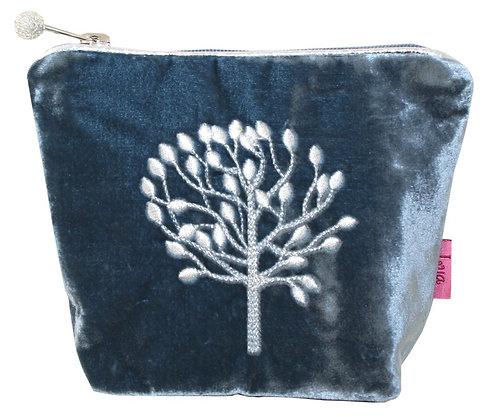 Velvet cosmetic purse in blue