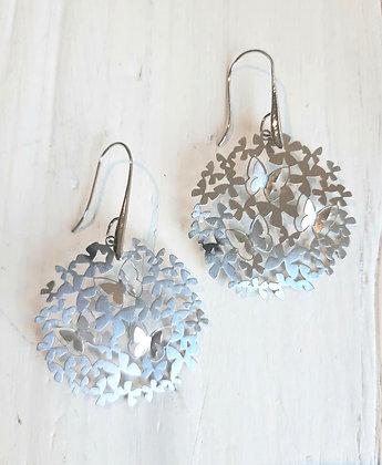 Butterfly disc earrings in silver