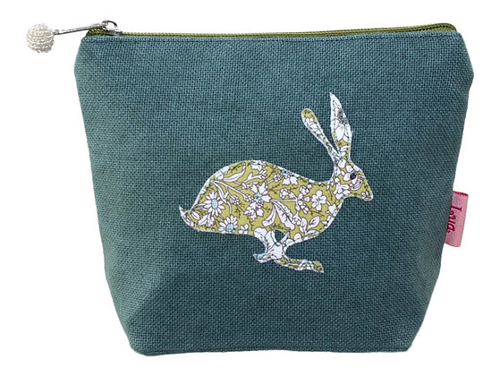 Hare cosmetic purse in aqua