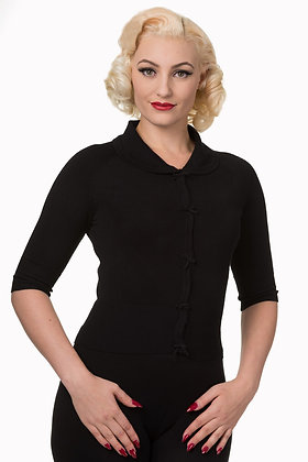 Crop bow cardigan in black