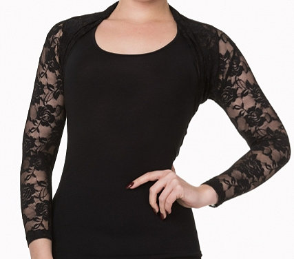 Lace shrug in black