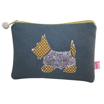 Scottie dog purse in grey/blue