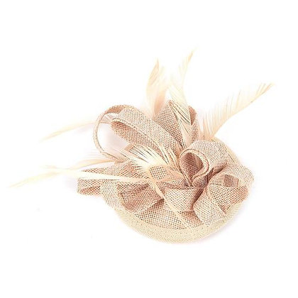 Mini fascinator on clip beige
