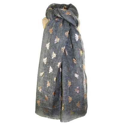 Bee foil print scarf in charcoal
