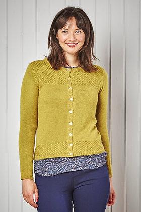 Vintage knit cardigan in ochre