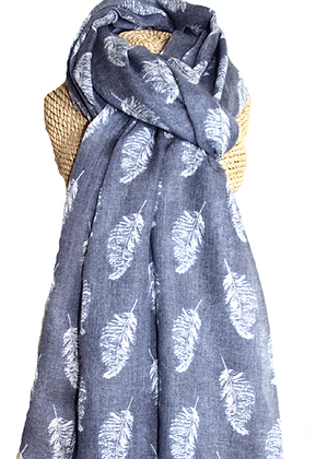 Feather print scarf in denim
