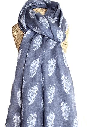 Feather print scarf in denim
