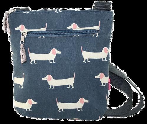 Blue dog crossbody bag
