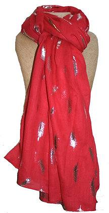 Silver feather scarf in red
