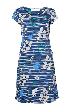 Scatter floral stripe dress in blue