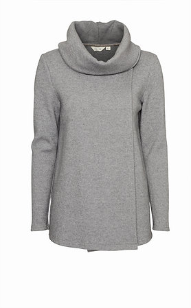 Cowl neck x over knit in grey