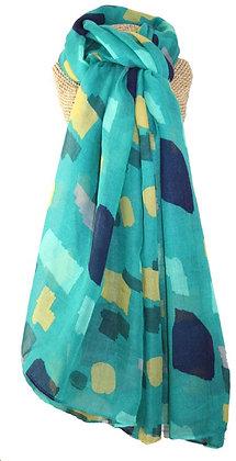 Colour block print scarf in jade