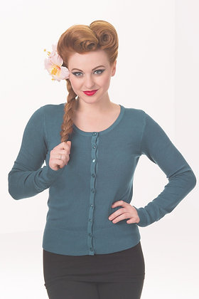 Cardigan in teal blue