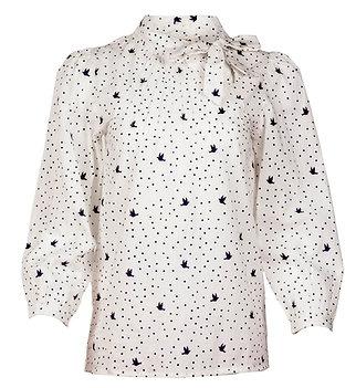 Dove print blouse in white