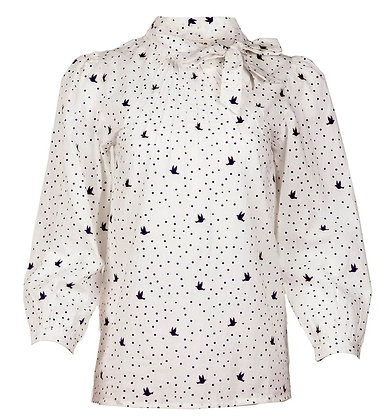 Dove print blouse in white