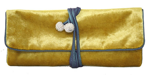 Velvet jewellery roll in mustard