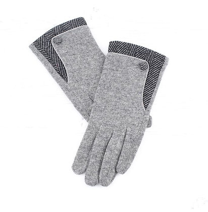 Herringbone gloves in grey