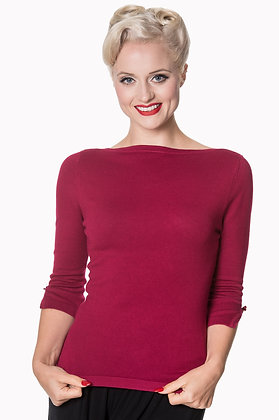 Audrey knit top in crimson
