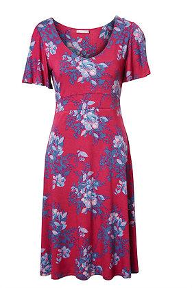 Drape floral dress in plum