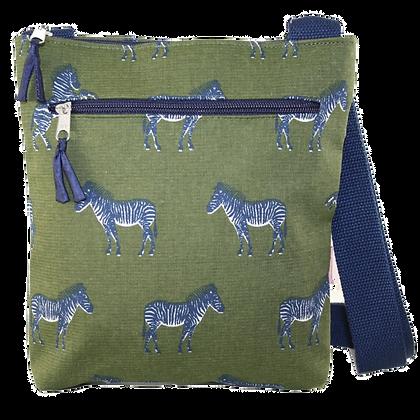 Zebra crossbody bag in olive