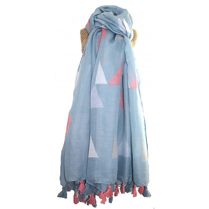 Triangle tassle scarf in pale blue