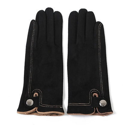 Faux suede stitch gloves black