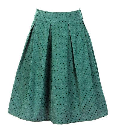 Pin dot cord skirt green