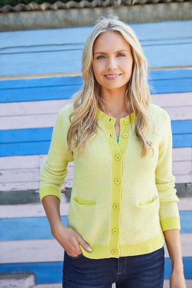 Pocket knit cardigan in lemon