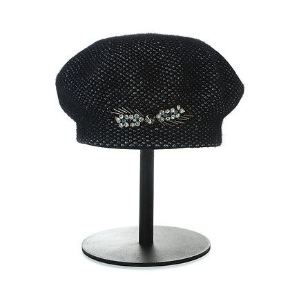 Angora jewelled beret in black