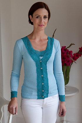 Gabriella Knight lace cardigan pale blue and jade
