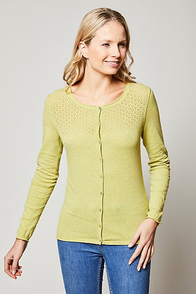 Pointelle cardigan in lime