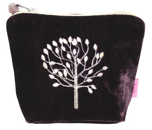 Velvet cosmetic purse in plum