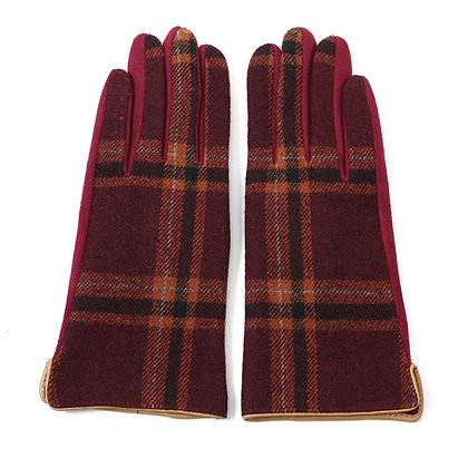 Tartan gloves in burgundy