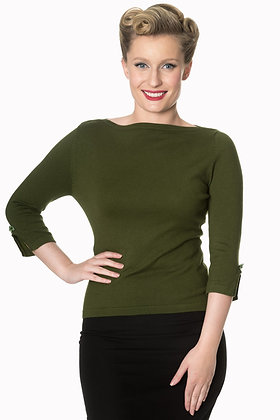 Audrey knit top in olive green