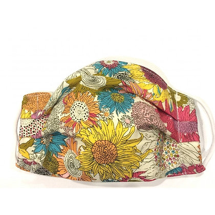 Pleated cotton face mask bright floral