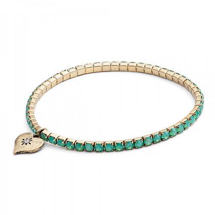 Turquoise crystal stretch link bracelet