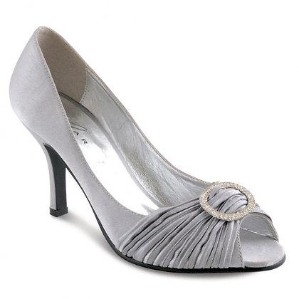 Diamonte mid heel shoes silver