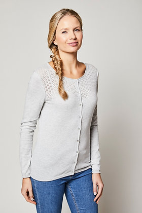 Pointelle cardigan in silver