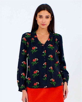 Posy print blouse in black