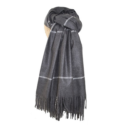 Check scarf in charcoal