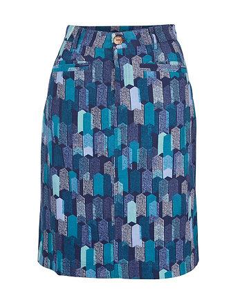 Block cord skirt in teal