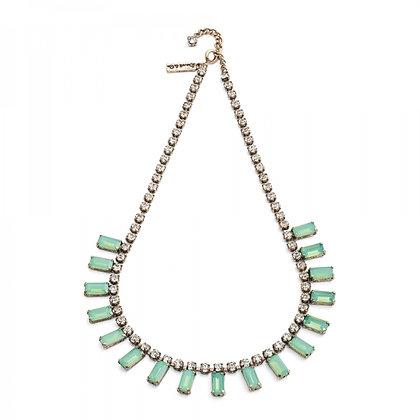 Aqua Milkstone 1950's bar style necklace
