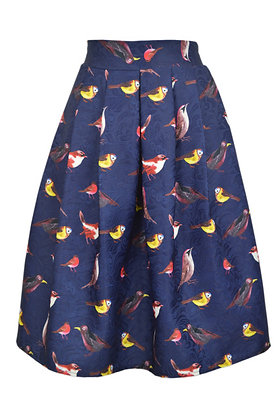 Birdie print skirt in blue