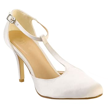 Bridal satin T bar shoes in ivory